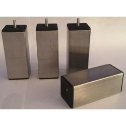 Pied carré inox h 15 cm pour sommier section 60 mm
