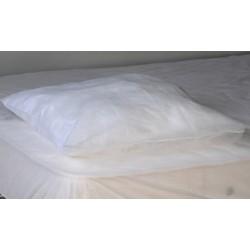 Carton de 200 taies d'oreiller PLP 25g blanc 60x60+10 cm