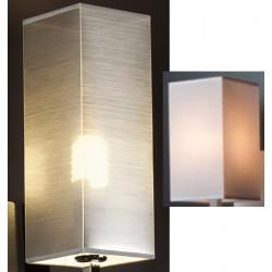 Abat-jour rectangle haut E27 tissu lavable silk blanc 11x11x20 cm