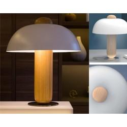 Lampe de chevet Clochette hêtre naturel et blanc
