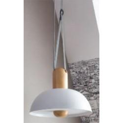 Lampe suspension Clochette hêtre naturel et blanc