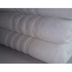 Lot de 12 serviettes de toilette 50x100 cm 100% coton blanc liteaux toile 470g
