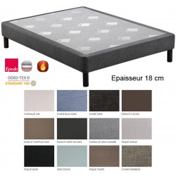 Sommier tapissier Superpro 180 lattes massives finition déco ép 18 cm 100x210 cm
