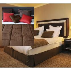 Lot de 6 chemins de lit Céline réversibles tissus microfibre coins droits 65x260 cm
