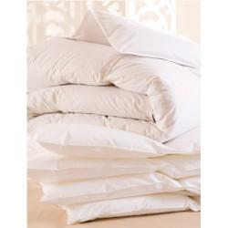 Lot de 4 couettes 220x240 cm 400g blanc 100% coton et fibres