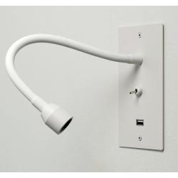 Applique liseuse encastré avec prise USB finition blanc mat