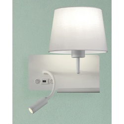 Applique étagère Milly blanche avec USB et liseuse LED gauche