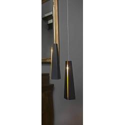 Suspension Pluma noire et or ø 8,3 x H36 cm