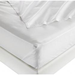 Drap plat 100% coton blanc 125 g 305x310 cm (le lot de 10)