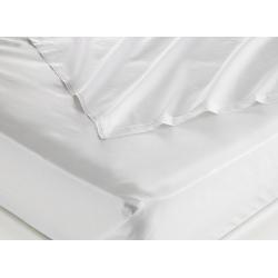 Taie d'oreiller 100% coton blanc 125 g portefeuille avec rabat et volant piqué 50x75 cm (le lot de 100)