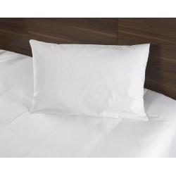 Taie d'oreiller Tradition polycoton 74/26 blanc 130 g portefeuille avec rabat 50x75 cm (le lot de 10)