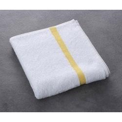 Serviette de toilette Eden 100% coton blanc liteau jaune 400 g 50x90 cm (le lot de 80)