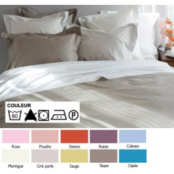 Lot de 3 draps plats 270x300 cm bourdon OS 4/4 percale 100% coton couleur