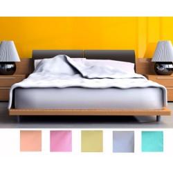 Lot de 20 draps plats polycoton couleur 160x300 cm