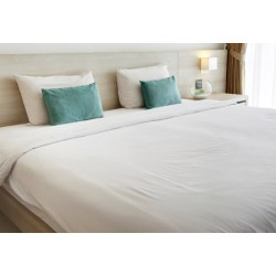Lot de 12 draps plats coton blanc 280x320 cm