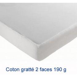 Lot de 10 protège-matelas drap housse coton gratté 2 faces 190g 90x200 cm