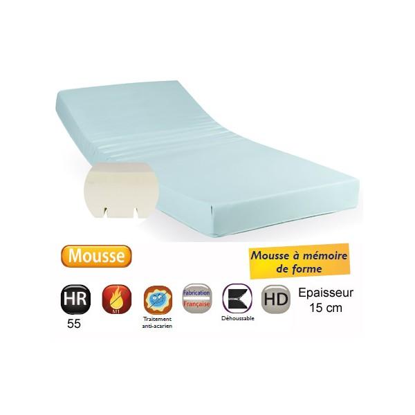 Matelas à mémoire de forme Top Confort 90kg 90x200 cm ép 15 cm
