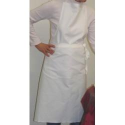Lot de 30 tabliers bavette coton blanc sans poche 95x102 cm